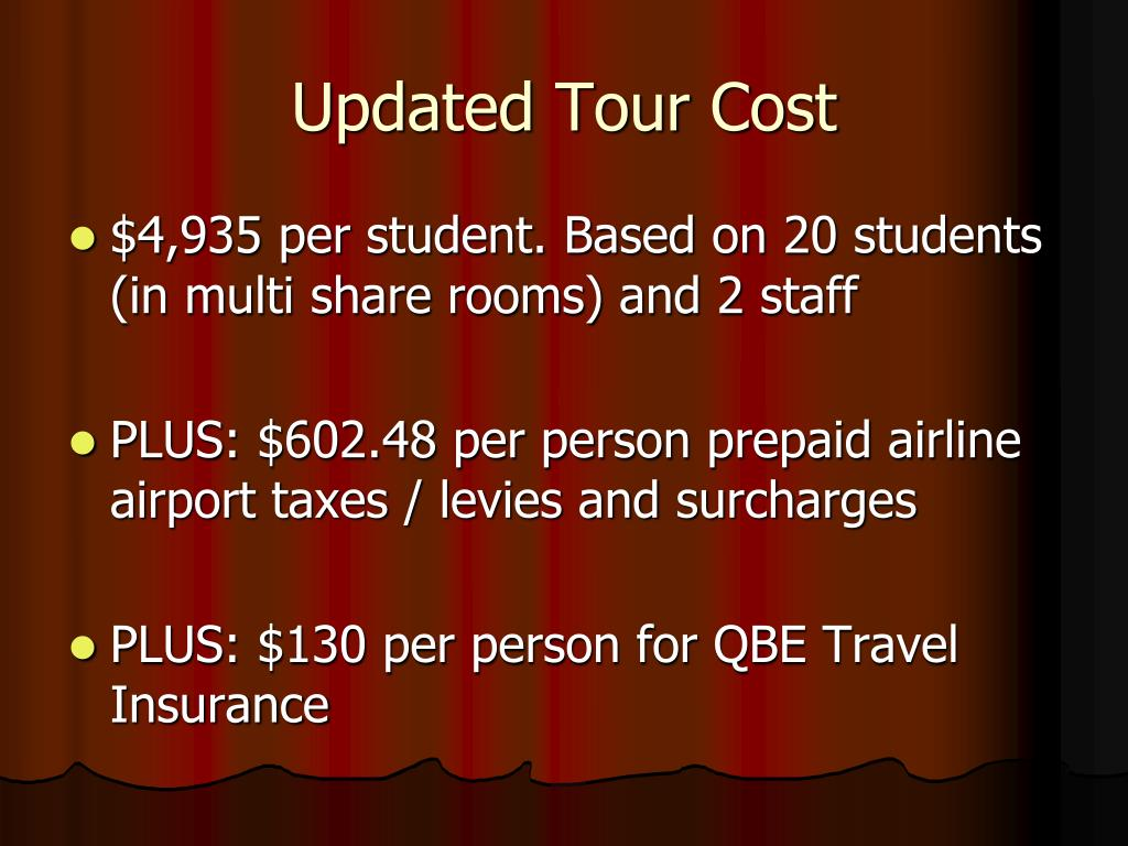 Updated Tour Cost