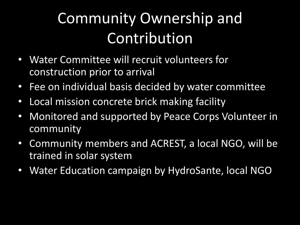 Community Ownership and Contribution