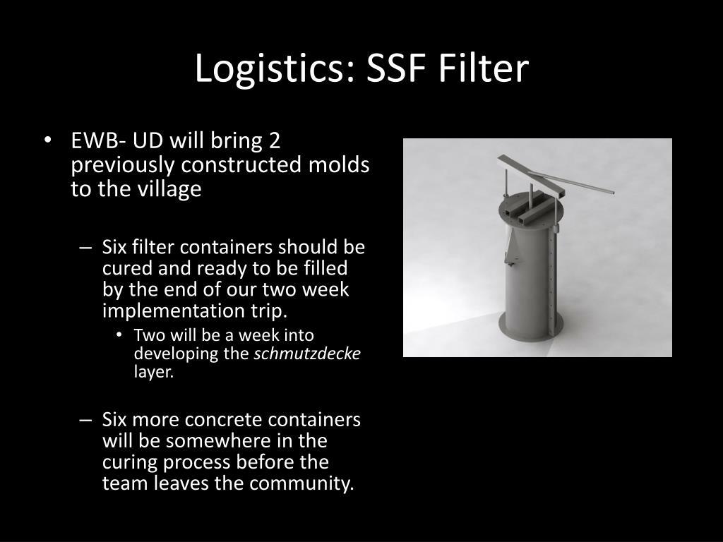 Logistics: SSF Filter
