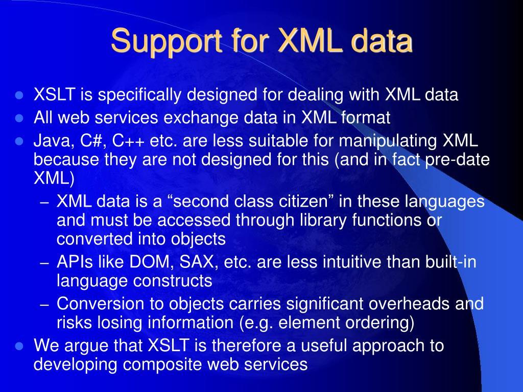 Support for XML data
