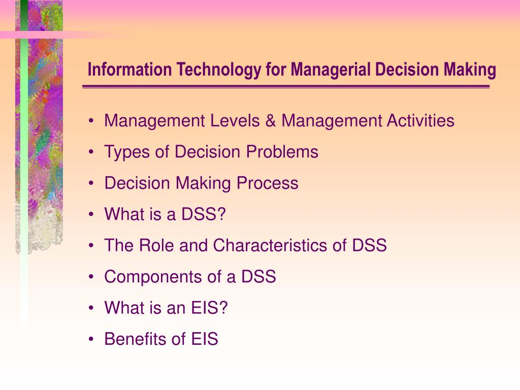 Technology Management Decisions: Management Levels & Management Activities Types Of