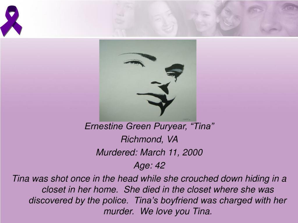 """Ernestine Green Puryear, """"Tina"""""""