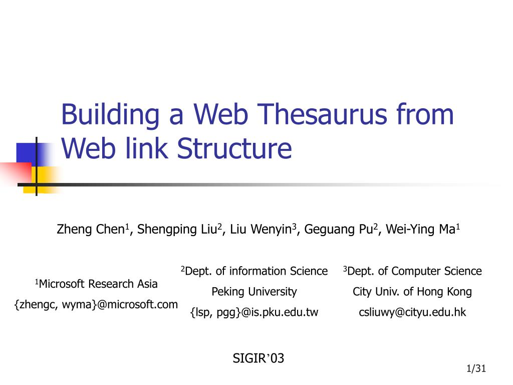 building a web thesaurus from web link structure l.