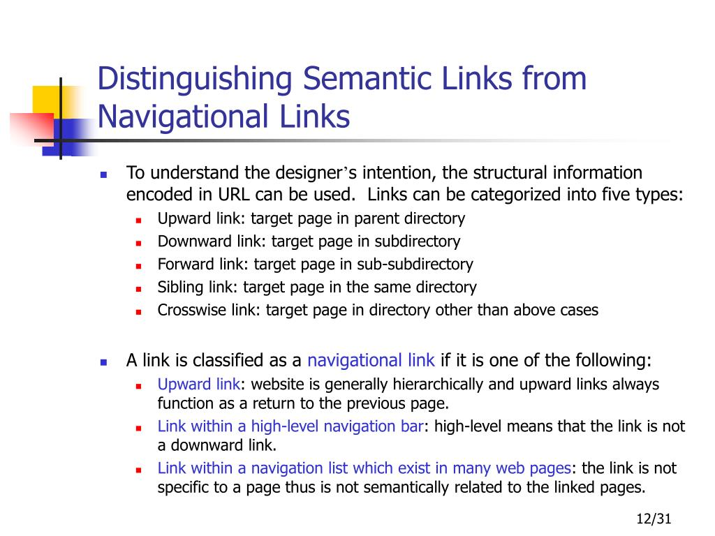 Distinguishing Semantic Links from Navigational Links