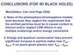 conclusions for 4d black holes