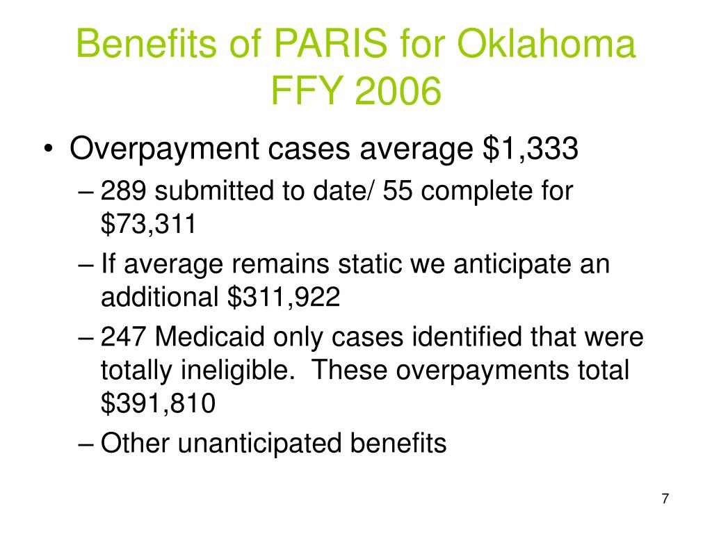 Benefits of PARIS for Oklahoma FFY 2006
