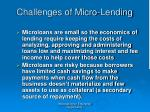challenges of micro lending