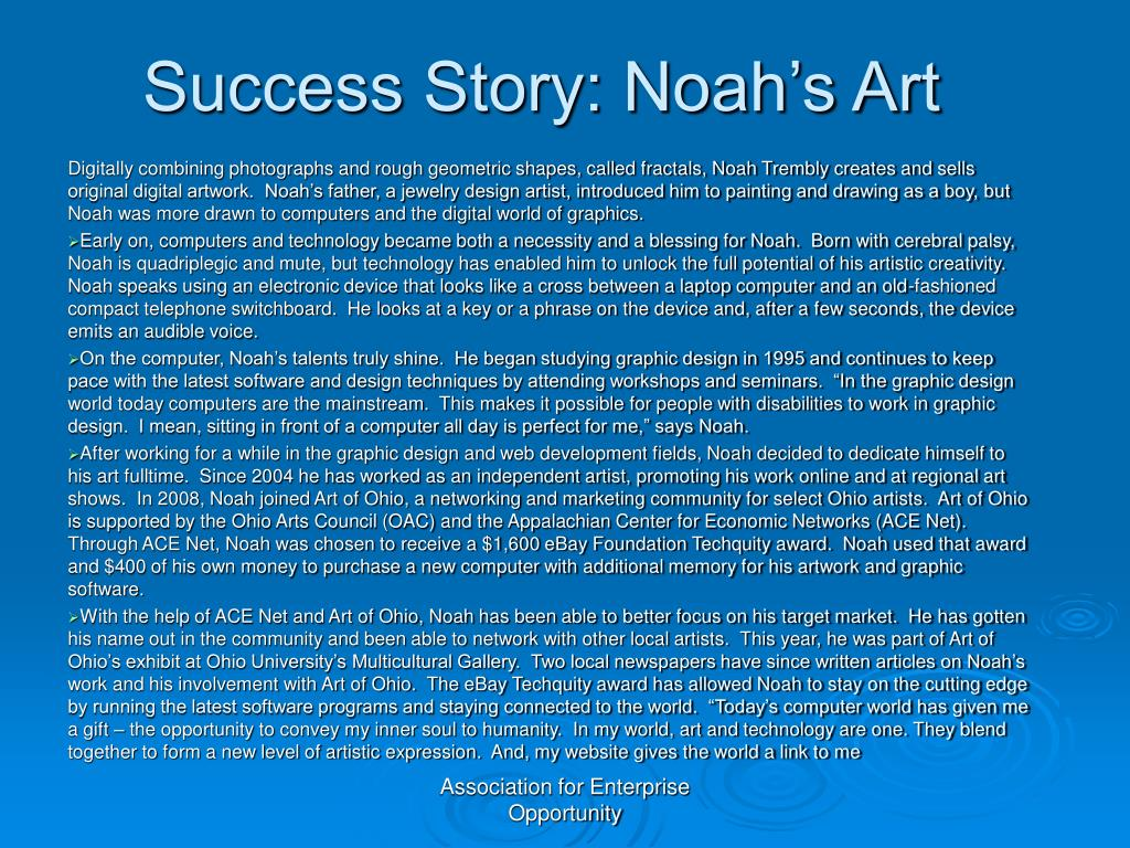 Success Story: Noah's Art