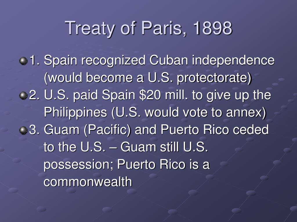 Treaty of Paris, 1898