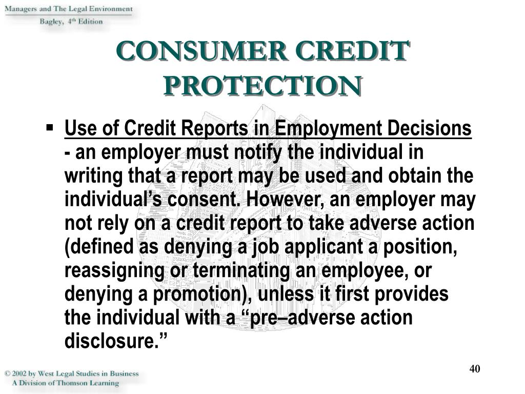 CONSUMER CREDIT PROTECTION