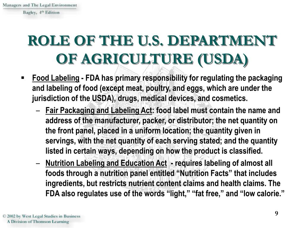 ROLE OF THE U.S. DEPARTMENT OF AGRICULTURE (USDA)