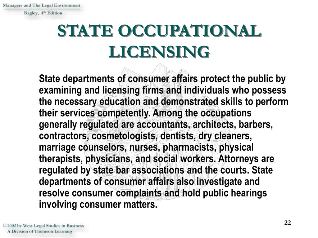 STATE OCCUPATIONAL LICENSING