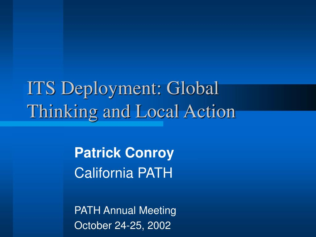 its deployment global thinking and local action l.
