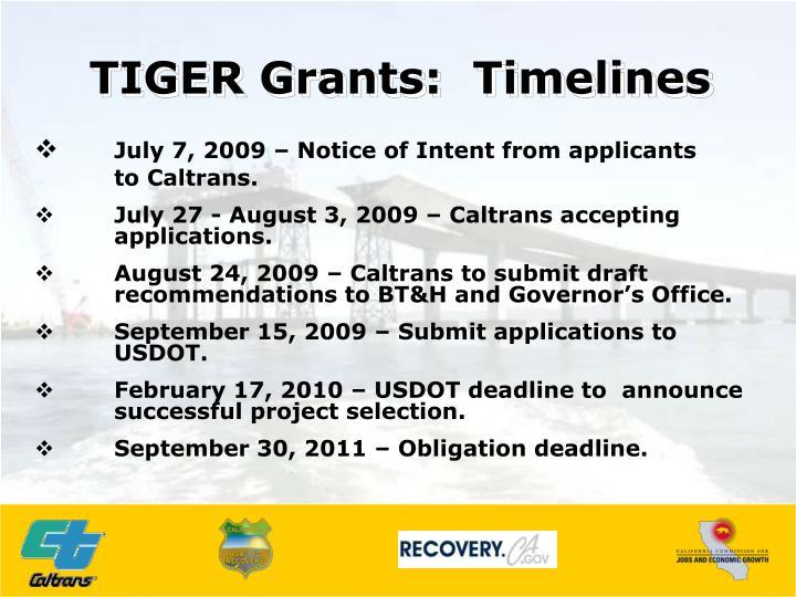 TIGER Grants:  Timelines