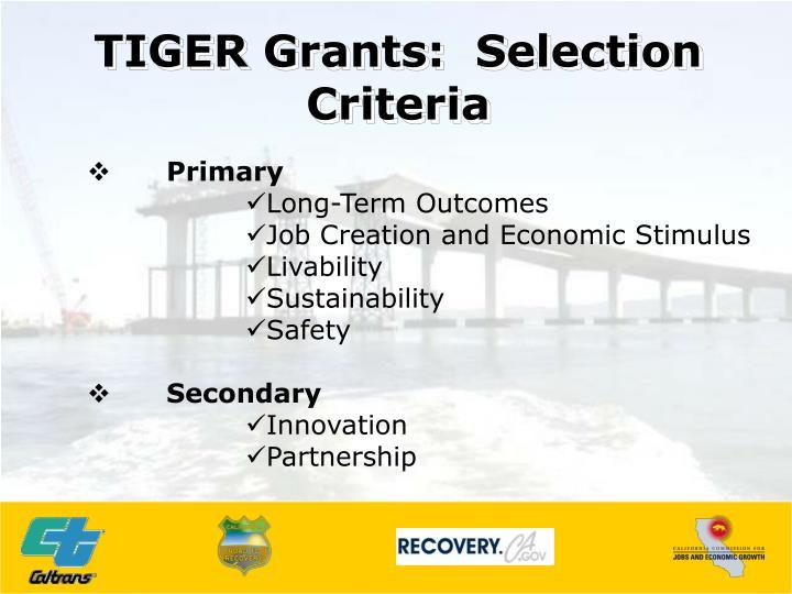 TIGER Grants:  Selection Criteria