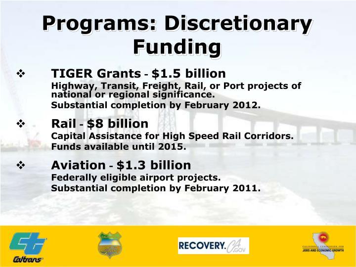 Programs: Discretionary Funding