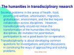 the humanities in transdisciplinary research