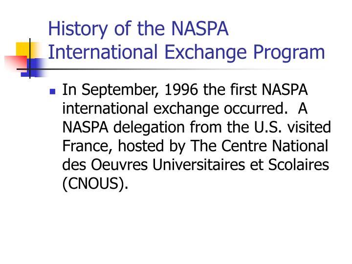 History of the naspa international exchange program
