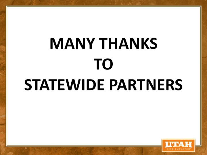 Many thanks to statewide partners