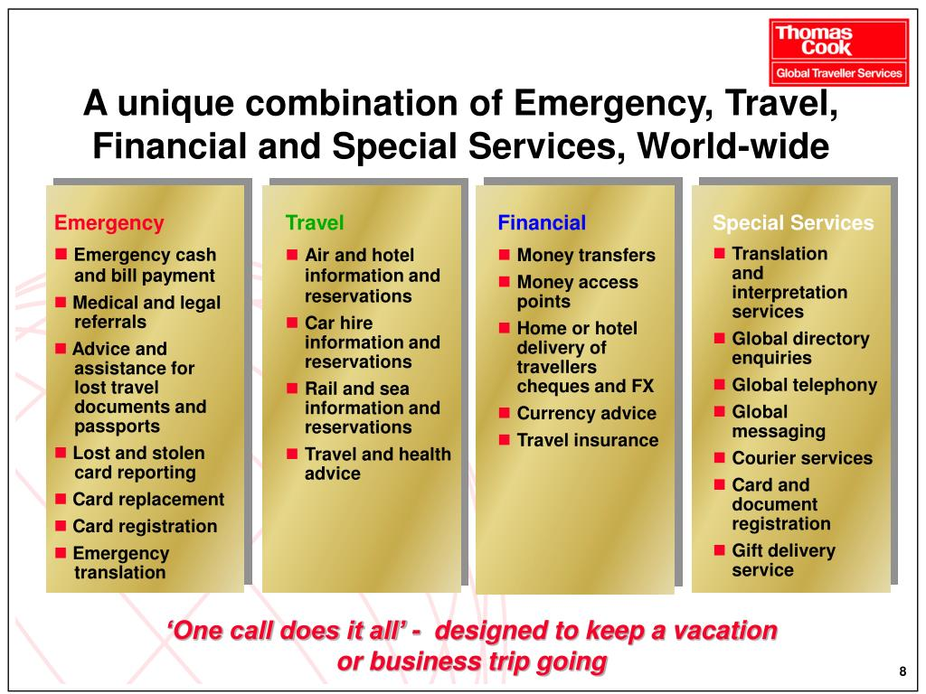 A unique combination of Emergency, Travel, Financial and Special Services, World-wide