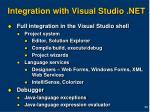 integration with visual studio net