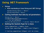 using net framework