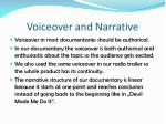 voiceover and narrative