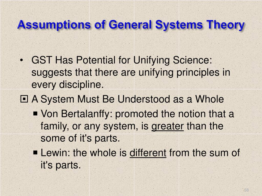 Assumptions of General Systems Theory