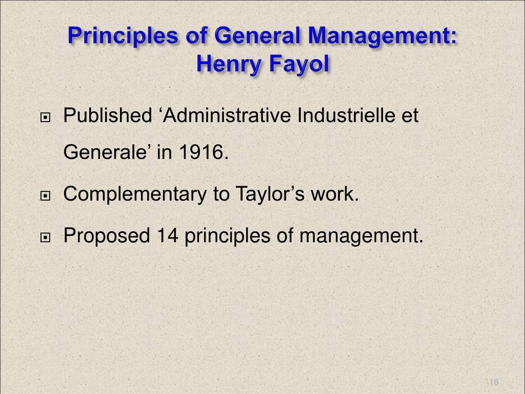 Principles of General Management: Henry