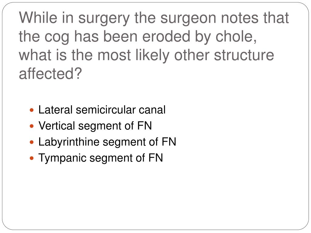 While in surgery the surgeon notes that the cog has been eroded by