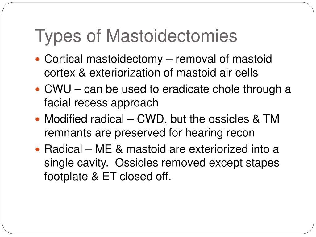 Types of Mastoidectomies