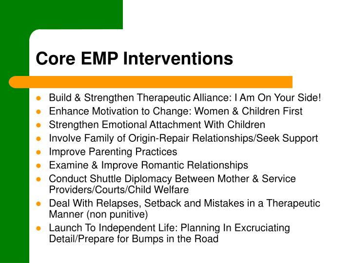 Core EMP Interventions