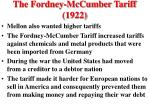 the fordney mccumber tariff 1922