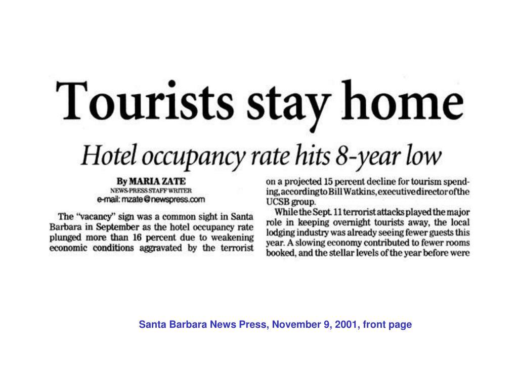 Santa Barbara News Press, November 9, 2001, front page