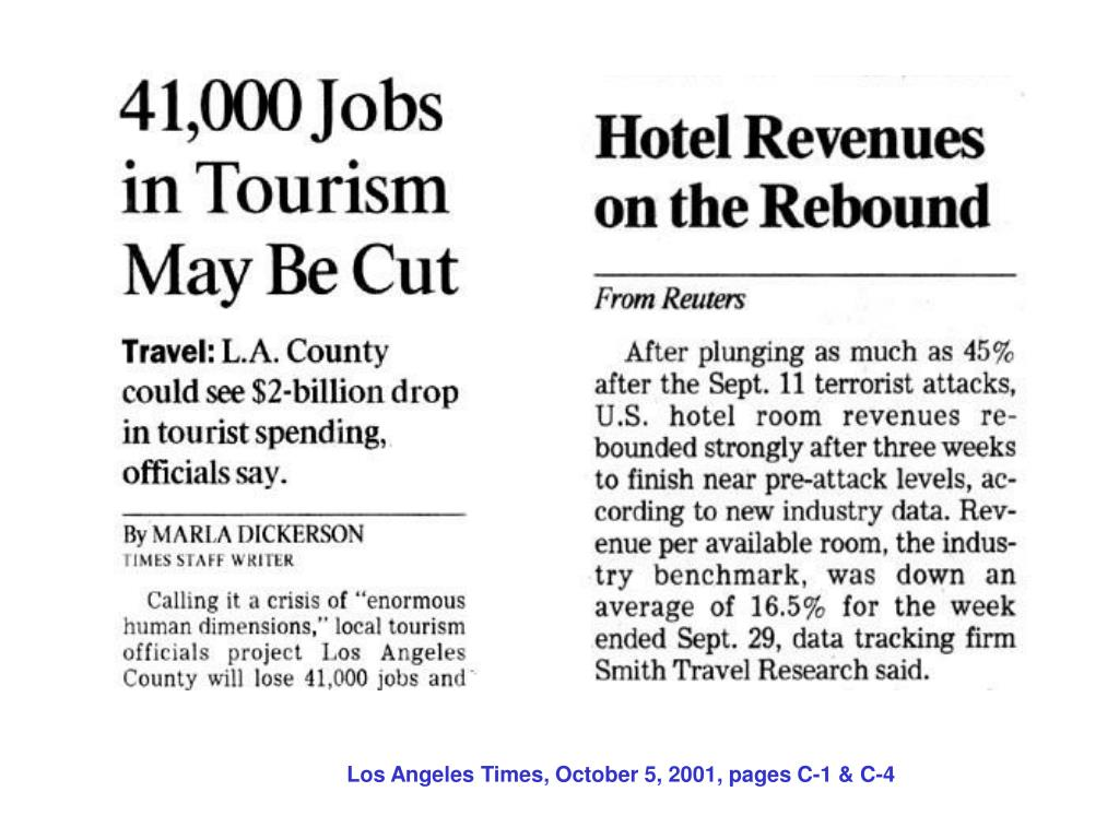 Los Angeles Times, October 5, 2001, pages C-1 & C-4