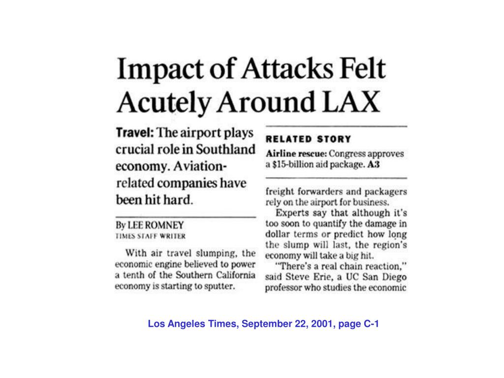 Los Angeles Times, September 22, 2001, page C-1