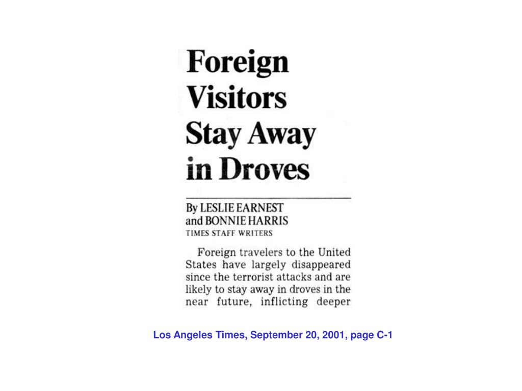 Los Angeles Times, September 20, 2001, page C-1