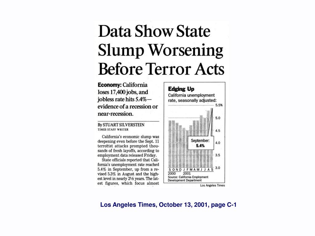 Los Angeles Times, October 13, 2001, page C-1