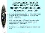 adequate sites for infrastructure and municipal facilities are needed continued