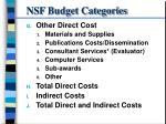 nsf budget categories6