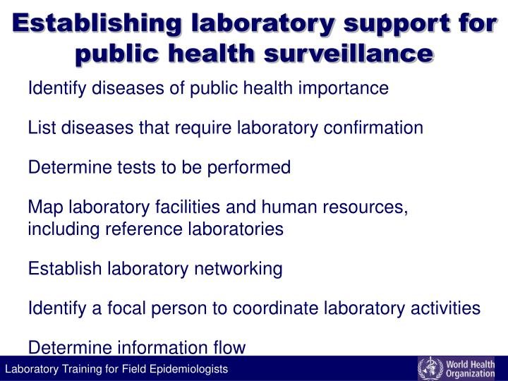 Establishing laboratory support for public health surveillance