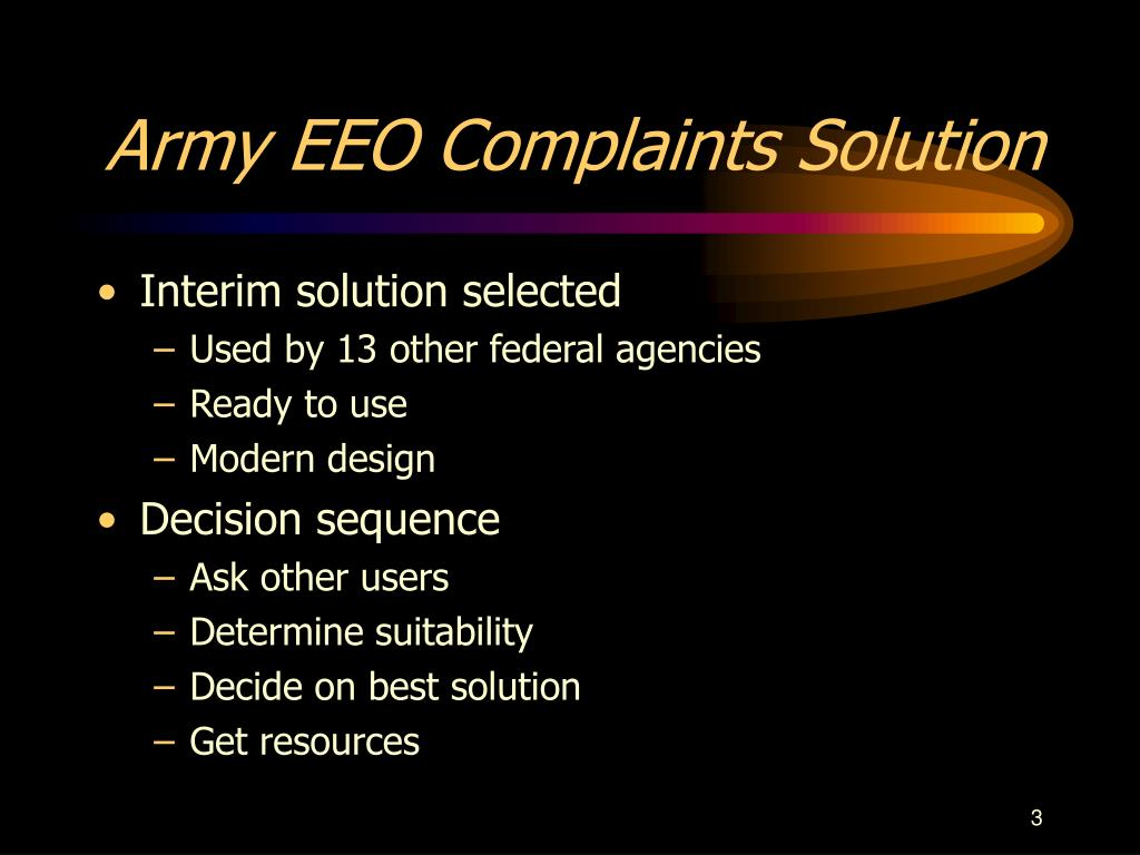 Army EEO Complaints Solution