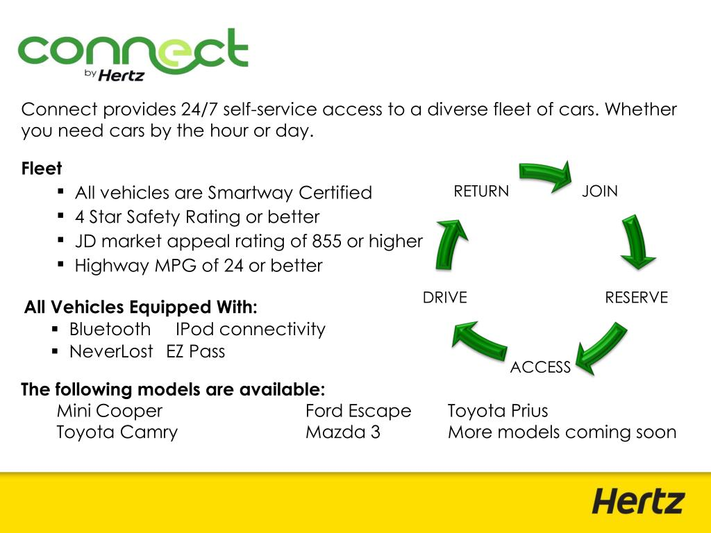 Connect provides 24/7 self-service access to a diverse fleet of cars. Whether you need cars by the hour or day.