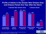 profile of adults in the greater new orleans area and orleans parish one year after the storm