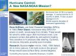 hurricane control a new nasa noaa mission