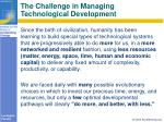 the challenge in managing technological development