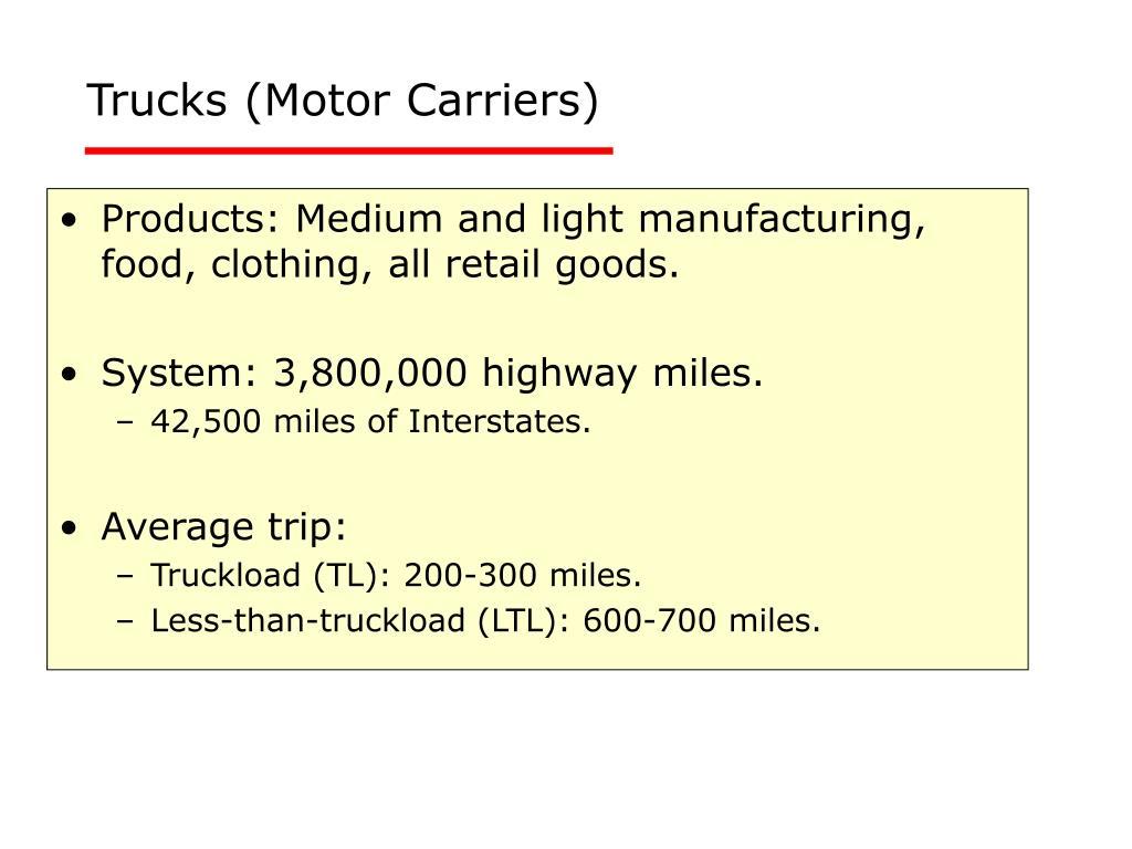 Trucks (Motor Carriers)