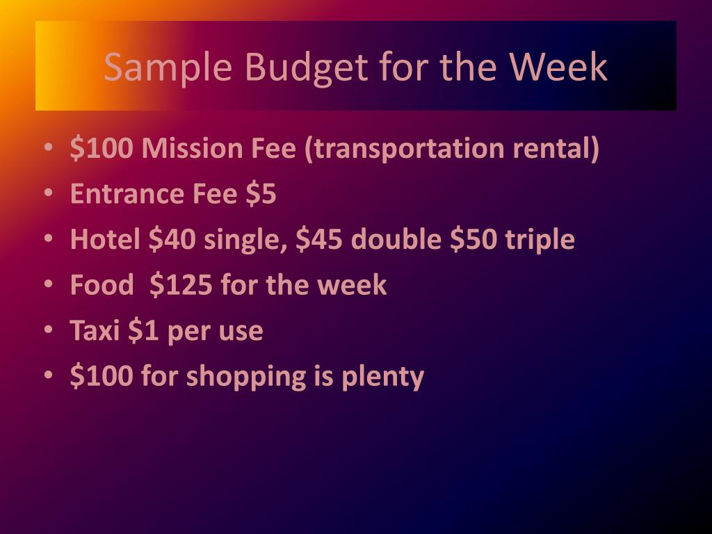 Sample Budget for the Week