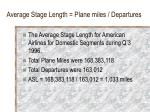 average stage length plane miles departures