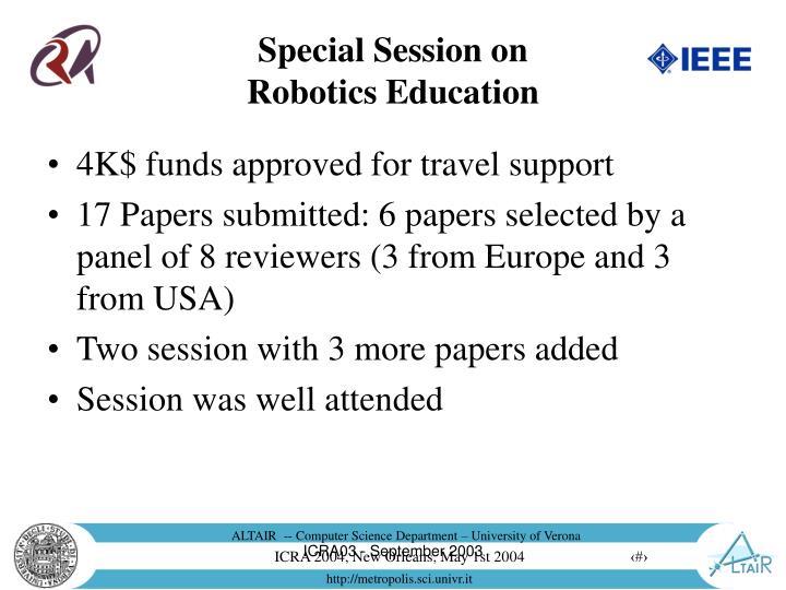 Special session on robotics education